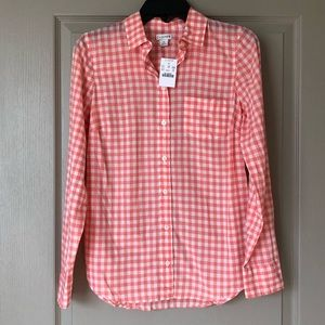 NWT - J Crew pink and white gingham button down